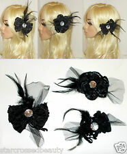 1920s Vintage Feather & Net Black Fascinator Hair Clip Sequin Burlesque 40s e091