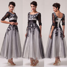 Half Sleeve Lace Tulle Wedding Cocktail Ball Gown Evening Prom Party Dress 8Size