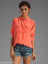 NEW Equipment Signature washed Silk Blouse Shirt Orange top XS/S/M $208