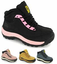 WOMAN SAFETY BLACK PINK STEEL TOE CAP LEATHER ANKLE HIKING LADIES BOOTS TRAINERS
