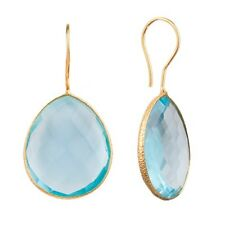 18K Gold Plated Earrings Sky Blue Green Ruby Yellow Pear Drop Silver Earrings