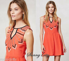 NEW Anthropologie Embroidered Loire Dress By Chloe Oliver Sz L $158 Silk, Rare!