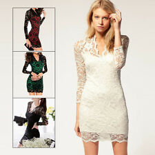 Womens Lace Floral Maxi Long Sleeve V-neck Bodycon Prom Cocktail Evening Dress