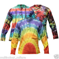 Colorful TIE DYE HIPPY STYLE HOLIDAY GRANDAD SHIRT,SUPERSOFT BOHO CASUAL TOP