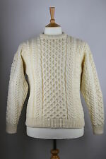 RRP £62. Irish Wool Aran Cable Jumper Sweater. Cream. Carraig Donn. Mens Ladies