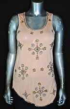 $98 NEW ANTHROPOLOGIE Fanned Apricot Tank Beaded Deletta Top Sequin *XS-XL