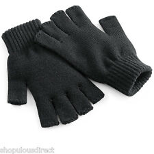 Beechfield Fingerless Knitted Gloves Winter Mitts Warm Hand Warmer Mens Ladies