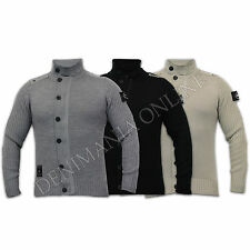 mens jumpers Rawcraft knitted funnel neck casual winter sweater top patches