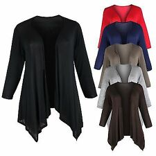 Ladies Womens Plus Size Long Sleeve Open Waterfall Jersey Cardigan