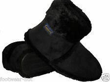 MENS BLACK FAUX SUEDE WARM WINTER SLIPPERS BOOTS FURRY LINED SIZE 7 8 9 10 11 12