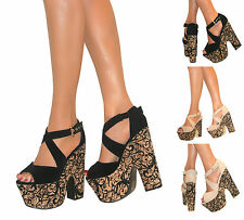 LADIES PEEP TOE BLOCK CHUNKY DEMI WEDGES STRAPPY PLATFORM HIGH HEELS PARTY SIZE