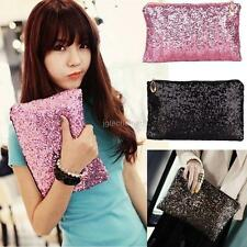 Glitter Sparkling Sequins Dazzling Bling Clutch Evening Party Bag Purse Handbag