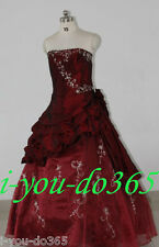 New Stock Wine Red Evening Wedding Bridesmaids Dress Size 6 8 10 12 14 16
