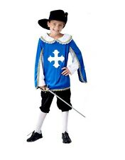 Musketeer Boys Medieval Fancy Dress Childrens Child Costume Kids Outfit + Hat
