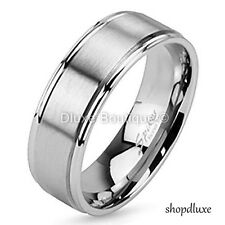 Men's Stainless Steel 316L Satin Brushed Comfort Fit Wedding Band Size 9-14