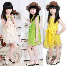 2014 New Kids Girls Princess Party Summer Sunflower Lace Ribbon Tulle Dresses XF