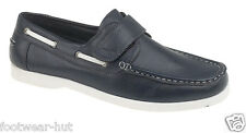 MENS NAVY BOAT DECK FAUX LEATHER MOCCASIN SHOES WHITE SOLE SIZE 6 7 8 9 10 11 12