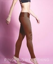 Satin Brown Shiny Spandex Leggings Tights High Waisted Nylon Tricot Yoga Pants