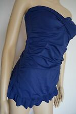 JANTZEN bandeau shirred swimsuit swimdress 8 12 S M L New $98 Navy Blue