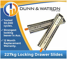 HEAVY DUTY 227kg Locking Drawer Slides / Runners - Lengths 408mm to 1524mm