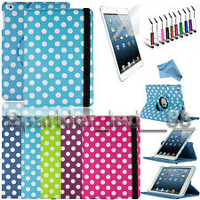 For Apple iPad Mini 1 2 & 3 Polka Dot 360 Rotating Case with Stand