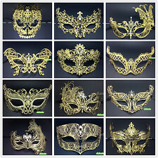 Gold&Silver Metal Filigree Venetian Masquerade Mask Laser Cut with Rhinestones