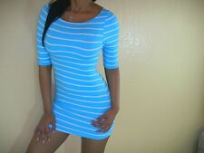 SEXY AQUA NAUTICAL STRIPES PREPPY TUNIC CURVE FITTED SUMMER MINI DRESS SML DR102