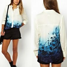 Europe Style Womens Flower Print Chiffon Long Sleeve Blouse T-shirt Tops New