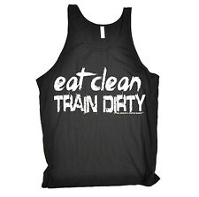 Unisex EAT CLEAN TRAIN DIRTY VEST ★ s gym fitness body building sex weights D6