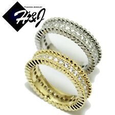 Women's Stainless Steel 5mm Silver/Gold Eternity Pave CZ Wedding Band Ring*R57