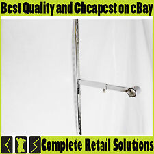 CHROME STRAIGHT ADJUSTABLE ARM HOOK FOR UPRIGHT BRACKET FOR SHOP FITTING RETAIL