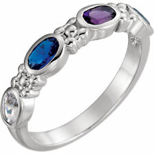 Mother's Jewelry Sterling Silver 1-4 Oval Birthstones Mothers Ring, Moms gift