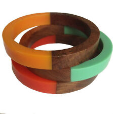 Acrylic & Wooden Bangles (Set Of 3) Assorted Colours