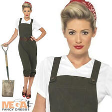 WW2 Land Girl Fancy Dress World War 2 1940s Ladies Costume Army Outfit UK 8-16