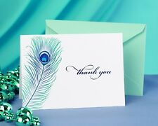 Royal Blue Peacock Feather Birthday Bridal Wedding Thank You Cards