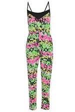 Ladies Neon Fluorescent Floral Print Jumpsuit Womens Sleeveless Playsuit Size S/
