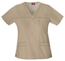 Dickies Scrubs 817455 V Neck Scrub Top Dickies Youtility Jr Fit Khaki