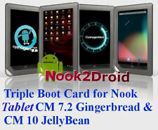 Nook2Droid Android 4.1 Triple Boot Rooted Nook Tablet MicroSD - CM7.2 CM10