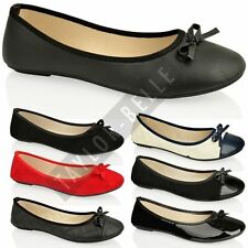 WOMENS LADIES FLAT BALLERINA PUMP BALLET OFFICE WORK LOAFER SCHOOL SHOES SIZE