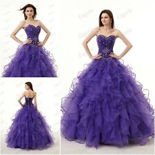 Stock Purple Ball Prom Gown Party Dress Quinceanera dresses Pageant Long Gown