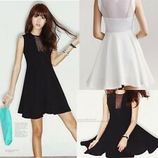 Womens Mesh see through club bodycon dress Sleeveless Stretch Skater Dress New