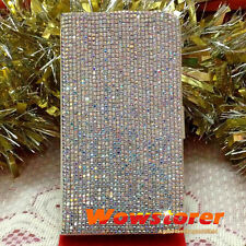 Bling crystal AB diamond flip fold folio leather case cover for Samsung x0