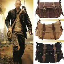 New Mens Canvas Messenger Book Laptop Cross Body Bag Satchel Black Coffee Khaki