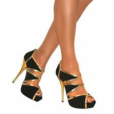 WOMENS BLACK GOLD CUT OUT HIGH STILETTO HEEL PEEP TOE SANDALS SHOES SIZE PROM
