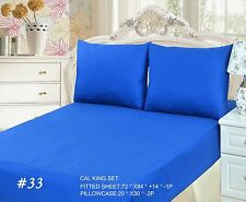 New 3-2 Piece 100% Cotton Deep Blue Fitted Bed Sheet Set Cal King Queen Twin