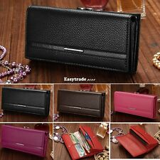 New Women's Synthetic Leather Button Purse Lady Long Handbag Clutch Wallet Bag