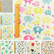 White Cream Kids FQ ♥ Children Baby ♥ Bunting Sew Craft ♥ Elephant Giraffe Zoo