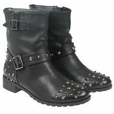 WOMENS LADIES LOW HEEL PULL ON STUDDED COWBOY ANKLE BOOTS SHOE SIZE 3-8