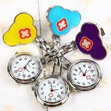 Nurse Doctor Brooch Red Cross SS Strarp Fob Quartz Pocket Watch With Clip Gifts