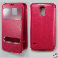 Flip PU Leather View Window Stand Case Cover for Samsung Galaxy S5 + protector